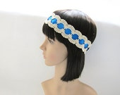 1920's Style Fancy Royal Blue Satin Lace Headband - 1.7 inches/4.2cm Width - Ready to Ship Hair Accessories