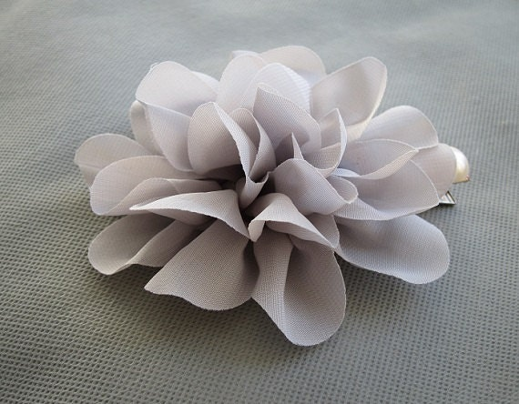 Elegant Grey Large Chiffon Flower with Pearl Hair Clip - 4.3 inches/11cm - Hair Accessories