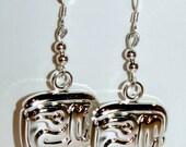Drop Silver Luck Charm Earrings, dangle earrings, long earrings