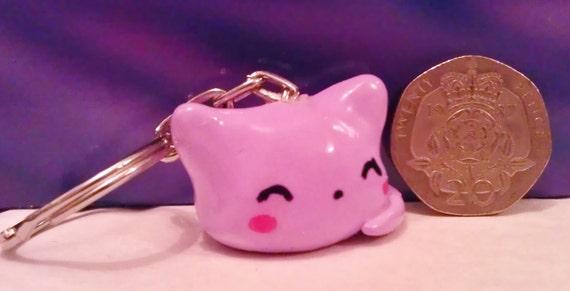 Cute kawaii Blob cat keyring purple