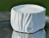 Fig and Pomegranate scent 20 ounce Soy Wax Candle - Handmade Log Container - Pure White
