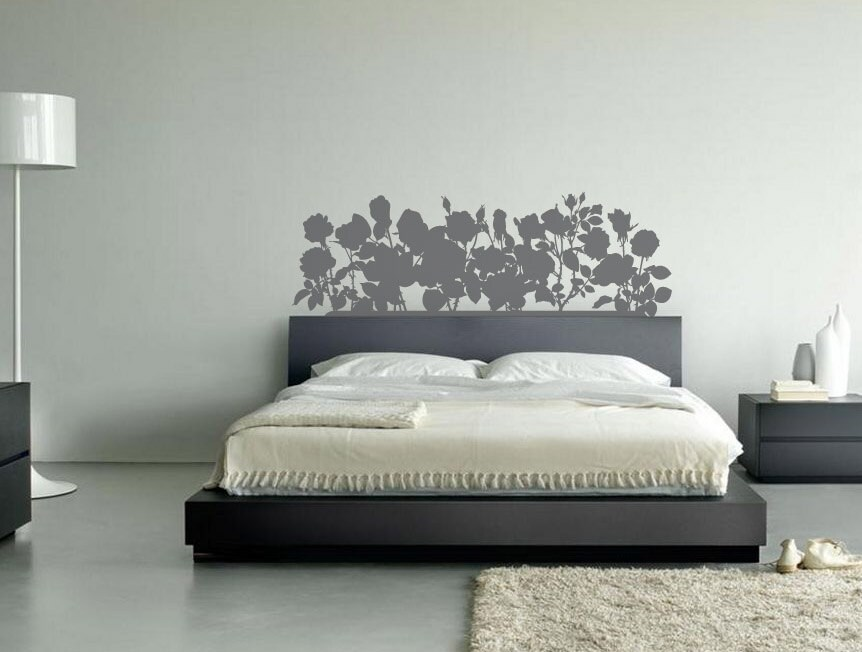 Roses headboard decal by createdspaces on etsy for Mural headboard