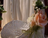 Rustic Flower Girl Basket- with Peach & White Flowers-Easter Basket