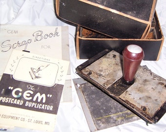 Gem Duplicator Kit for making Postcards using mimeograph stencils