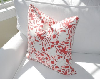 SALE. China Seas Quadrille Seya Decorative Pillow Cover. Coral and white graphic print by Alan Campbell. Ready to ship.