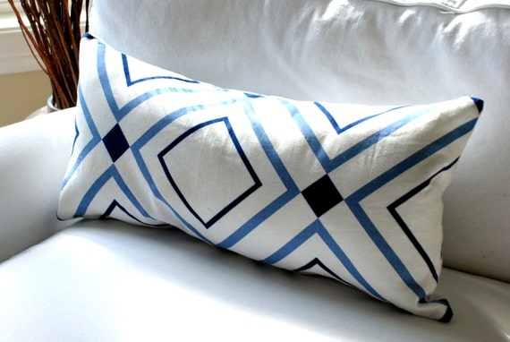 "SALE -  Victoria Hagan, Diamond Lights - Decorative Pillow Cover 13"" x 28"" - Designer Fabric Both Sides - Geometric, Modern"