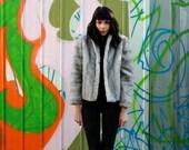 grey faux fur cropped coat