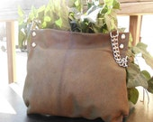 One of a Kind Earth Toned  Genuine Leather Clutch Bag