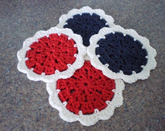 Drink Coasters, Crochet Coasters, Coaster Set, Round Coasters, Coasters for Drinks, Americana Decor, 4th of July Decor, Fourth of July