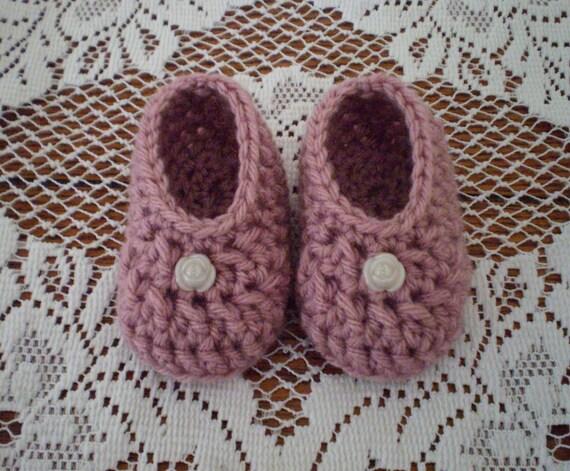 Newborn Shoes, Crochet Baby Ballet Flats, Crochet Baby Shoes, Crochet Baby Booties, Easter, Dusty Rose