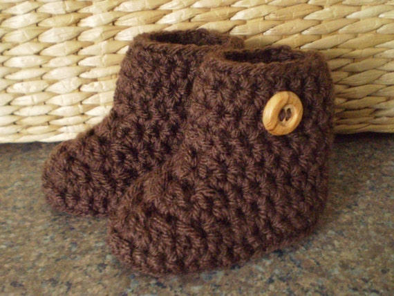 Crochet Baby Boots, Crochet Booties, Crochet Baby Shoes, Chocolate Brown
