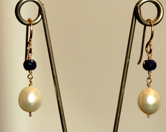 Pearl and Sapphire Earrings, Gold