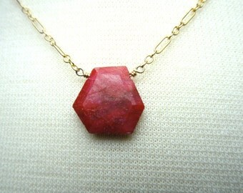 Faceted Real Red Ruby Drop Necklace on 14k Gold Filled Chain