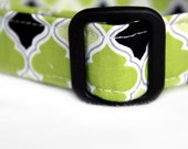 Dog Collar in Green Lattice Print