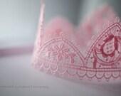 Lace Crown, Baby Photo Prop, Baby Girl Princess Crown, Pink Newborn Tiara, Pink Lace Halo, Newborn Size
