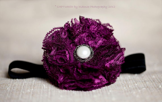 Burgundy Lace Baby Headband, Newborn Photo Prop, Baby Girl Burgundy Lace Headband on Black Elastic, Newborn Size