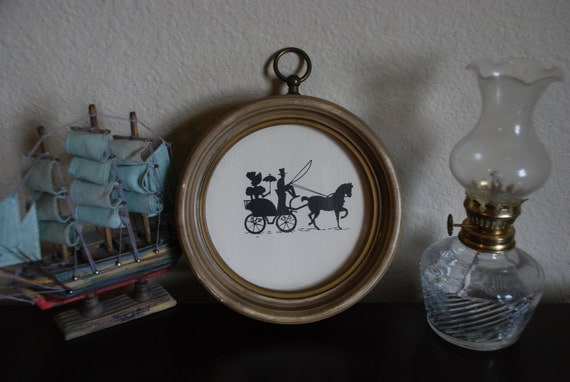 Vintage Victorian Framed Silhouette - Carriage Ride