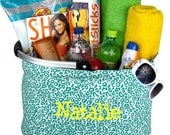 Turqouise Blue Leopard Print  Beach Pool Game Day Market Tote Personalized Monogrammed Back To School Gift
