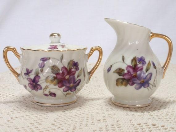 RESERVED FOR SKYE Sugar Bowl Creamer Japan Violets Royal Sealy Hallmarked