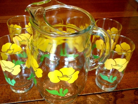 Pitcher Glasses Anchor Hocking Fire King Yellow Spring Green Retro