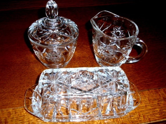 Anchor Hocking EAPC 5pc Set Butter Dish Sugar Creamer Glass Star of David