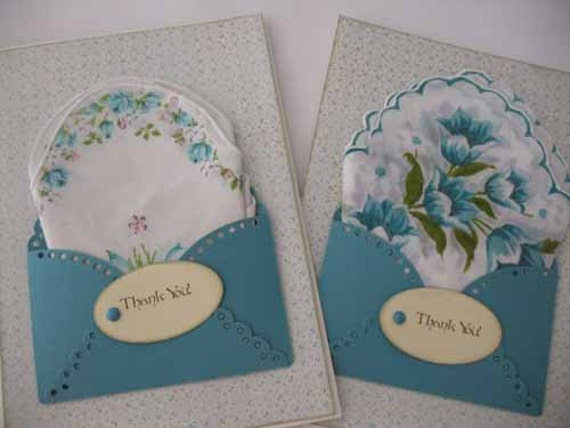 Pair of Unique Vintage Hem-Stitched Wedding Favor Floral Bride's Maid Thank You Turquoise Hanky Card