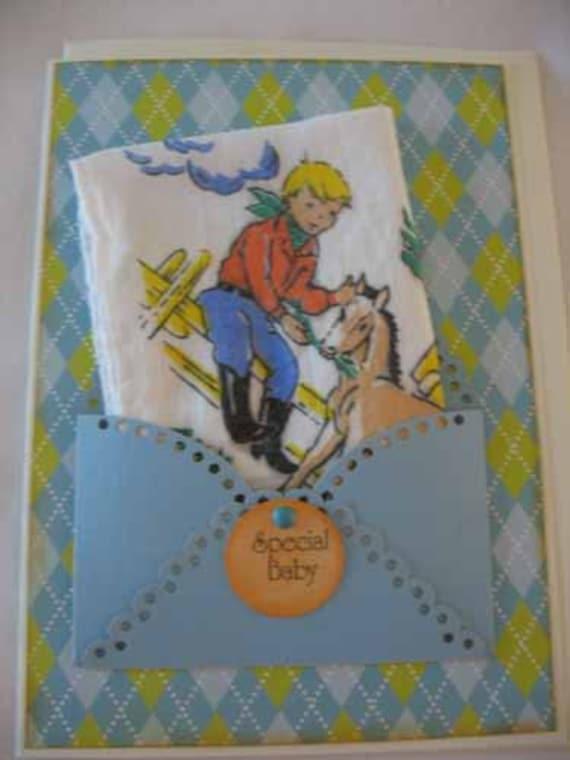 Unique Vintage Handkerchief Cowboy Horse Birthday Shower Baby Congratulations Hanky Greeting Card