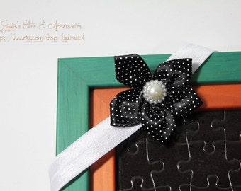 Newborn/baby/children headband - Jewel in Black blossom