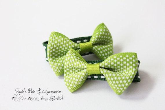 Children hair clip - light green polka dot bows