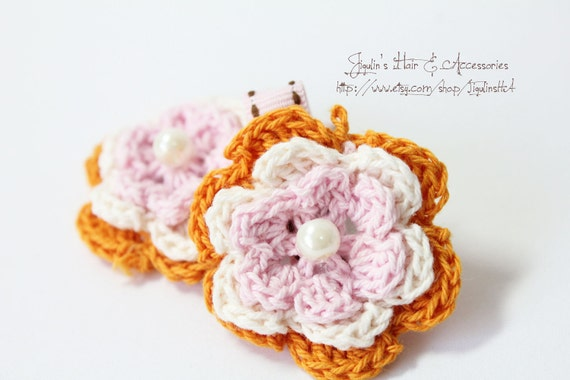 Girls hair clip - orange crochet flowers