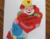 1940's UNUSED Vintage Valentine With Envelope Stop Clowning