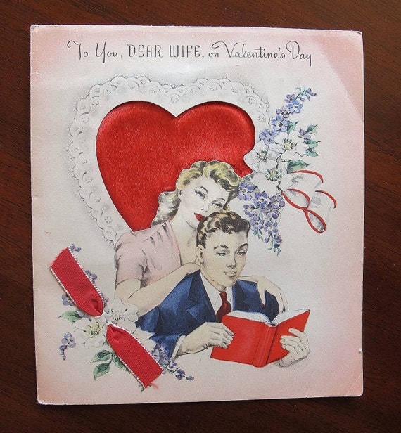 1950's UNUSED POPUP Vintage Valentine To Wife From Husband with cutouts and silk/ribbon embellishments
