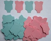100 Light Pink & Light Blue Onesies Confetti Cutouts Paper Embellishment Table Scatter Cupcake Topper
