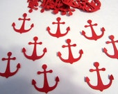 100 RED Anchor Confetti Cutouts Paper Embellishment Table Scatter