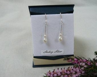 White Bridal Fresh Water Pearl and Sterling Silver Earrings created in Scotland.