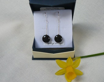Earrings: Black Rainbow Obsidian with Sterling Silver. Made in Scotland.