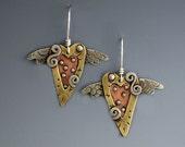 Hearts with Wings Earrings, Hearts with Wings, Heart Earrings RP0140ER