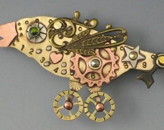Steampunk, Steampunk Jewelry, Steampunk Bird, Steampunk Crow, Steampunk Bird Necklace, Steampunk Necklace, Steampunk Bird Pin - RP0310