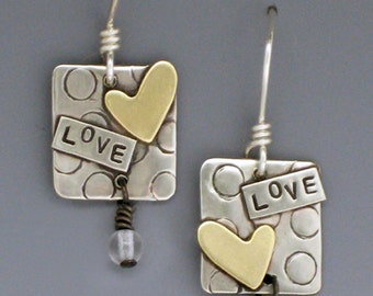Inspirational Words Earrings, Inspirational Jewelry,Heart Earrings, Valentine Jewelry, Valentine Gifts, Earrings with Words, Silver RP0166ER