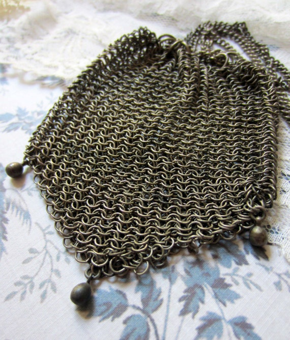 antique mesh chain purse victorian for repair or reuse