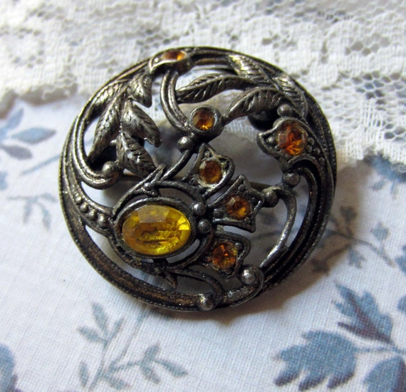 RESERVED for Lyn - vintage pot metal brooch art nouveau round with citrine coloured stones
