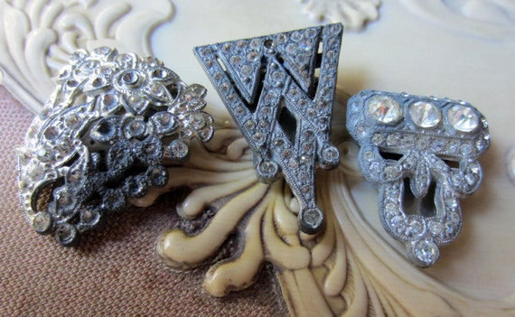 vintage paste rhinestone pot metal dress clips art deco destash