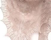 Beige Knit triangular shawl - ivory woman accessories