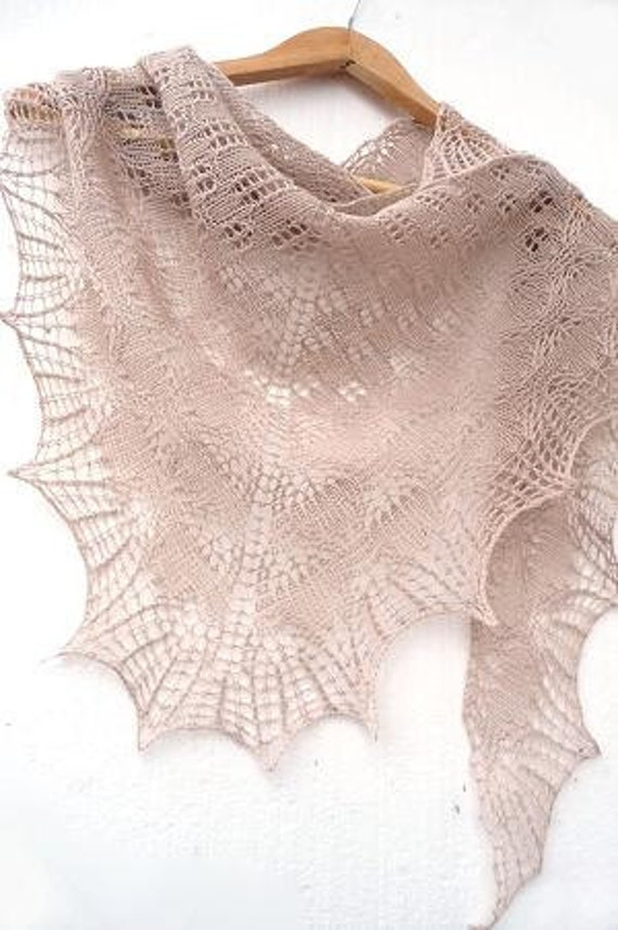 Beige Knit triangular shawl - ivory woman accessories