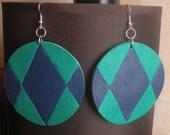 Rhombus leather earrings