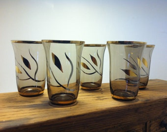 Vintage Smoked Glasses with gold and silver trim.  Juice or shot glass. Set of 5.