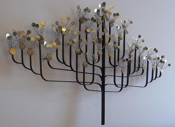 Mid Century Modern Metal Money Tree Wall Sculpture  C Jere Style