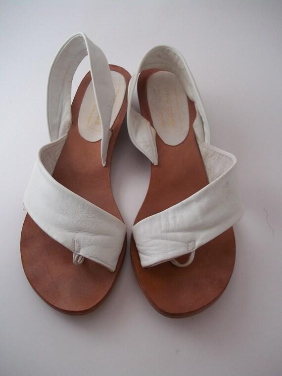 Vintage White Leather Summer Sandals