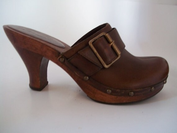 Vintage Mia Wood and Leather Clogs Size 6