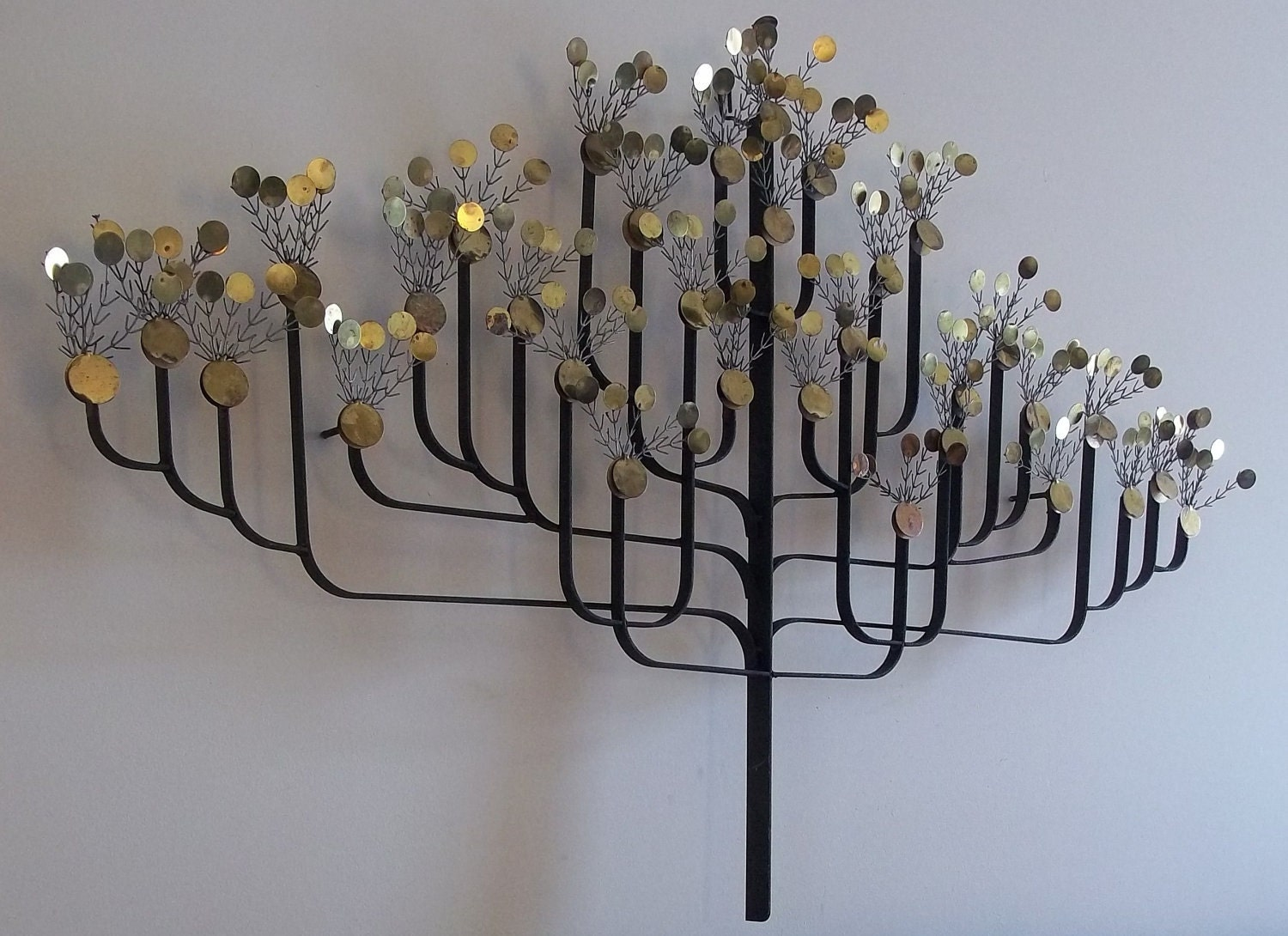 Mid Century Modern Metal Money Tree Wall Sculpture C Jere